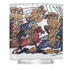 Byzantine Cavalrymen Rout Bulgarians Shower Curtain by Photo Researchers