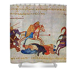 Byzantines Cavalrymen Pursuing The Rus Shower Curtain by Photo Researchers