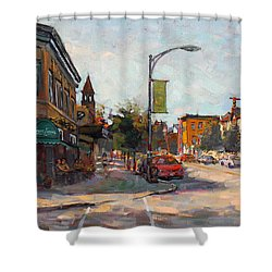 Caffe' Aroma In Elmwood Ave Shower Curtain by Ylli Haruni