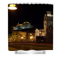 Calahorra Cathedral At Night Shower Curtain by RicardMN Photography
