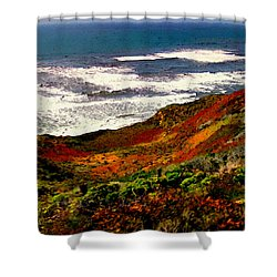 California Coastline Shower Curtain by Bob and Nadine Johnston