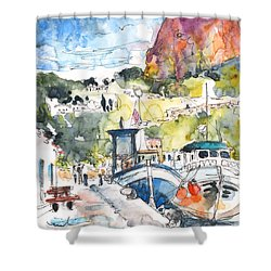 Calpe Harbour 05 Shower Curtain by Miki De Goodaboom