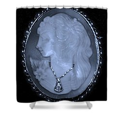 Cameo In Cyan Shower Curtain by Rob Hans