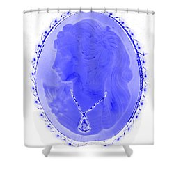 Cameo In Negative Blue Shower Curtain by Rob Hans