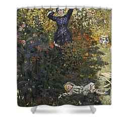Camille And Jean In The Garden At Argenteuil  Shower Curtain by Claude Monet