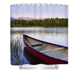 Canoe And Boya Lake At Sunset, Boya Shower Curtain by Yves Marcoux