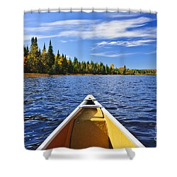Canoe Bow On Lake Shower Curtain by Elena Elisseeva