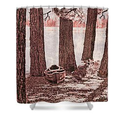 Canoe In The Woods Shower Curtain by Cheryl Young
