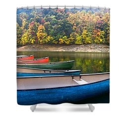 Canoes At Fontana Shower Curtain by Debra and Dave Vanderlaan