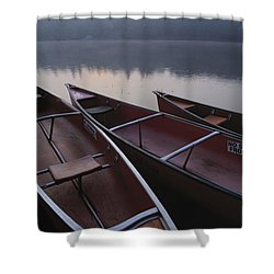 Canoes On Still Water Shower Curtain by Natural Selection John Reddy