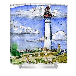 Cape May Lighthouse Study Shower Curtain by John D Benson