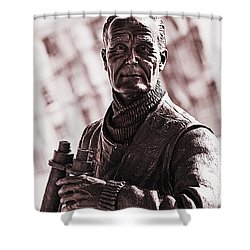 Captain F J Walker Shower Curtain by Meirion Matthias