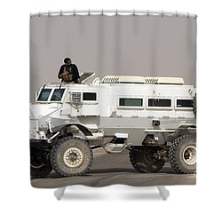 Casper Armored Vehicle Blocks The Road Shower Curtain by Terry Moore