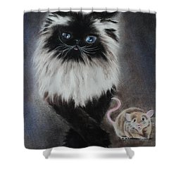 Cat N Mouse Say Cheeeeeeese Shower Curtain by Carla Carson