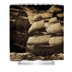 Catastrophic Collision-sepia Shower Curtain by Lourry Legarde