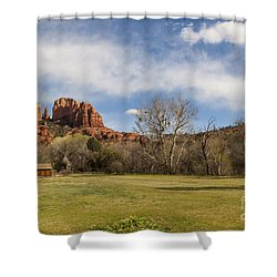 Cathedral Rock From The Park Shower Curtain by Darcy Michaelchuk