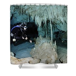 Cavern Diver In Dos Ojos Cenote System Shower Curtain by Karen Doody