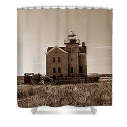 Cedar Island Lighthouse Shower Curtain by Skip Willits