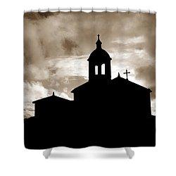 Chapel Silhouette Shower Curtain by Gaspar Avila
