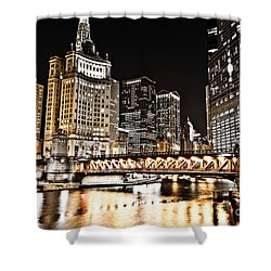 Chicago City At Night Shower Curtain by Paul Velgos