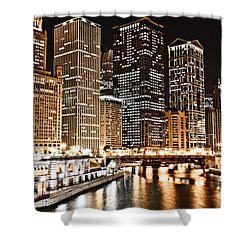 Chicago City Skyline At Night Shower Curtain by Paul Velgos