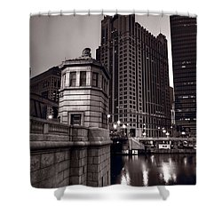 Chicago River Bridgehouse Shower Curtain by Steve Gadomski
