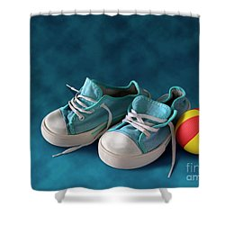 Children Sneakers Shower Curtain by Carlos Caetano