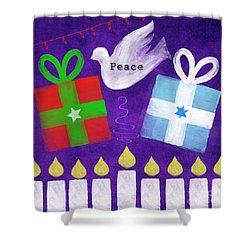 Christmas And Hanukkah Peace Shower Curtain by Linda Woods