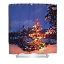 Christmas Tree Outdoors At Night Shower Curtain by Carson Ganci