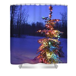 Christmas Tree Outdoors Under Moonlight Shower Curtain by Carson Ganci