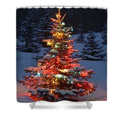 Christmas Tree With Lights Outdoors In Shower Curtain by Carson Ganci