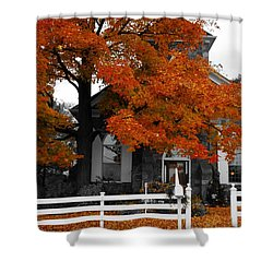 Church In Autumn Shower Curtain by Andrea Kollo