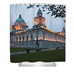 City Hall Illuminated Belfast, County Shower Curtain by Peter Zoeller