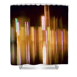 City Lights Over Water Abstract Shower Curtain by Carolyn Repka