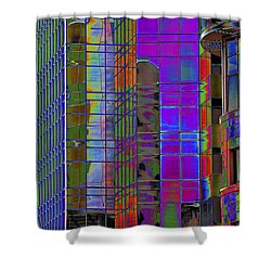 City Windows Abstract Pop Art Colors Shower Curtain by Phyllis Denton