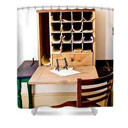Civil War Desk Shower Curtain by Trish Tritz
