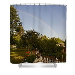 Clear Sky Rainbow Shower Curtain by Mick Anderson