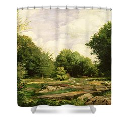 Clearing In The Woods Shower Curtain by Pierre Auguste Renoir