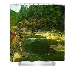 Cliff Over The Yak River Shower Curtain by Jeff Swan