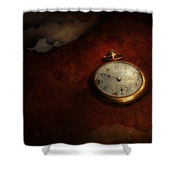 Clock - Time Waits For Nothing  Shower Curtain by Mike Savad
