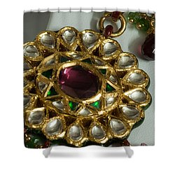 Close Up Of The Gold And Diamond Setting Of A Large Necklace Shower Curtain by Ashish Agarwal