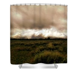 Clouds Over The Tetons Shower Curtain by Ellen Heaverlo