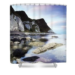 Coast Between Carnlough & Waterfoot, Co Shower Curtain by The Irish Image Collection