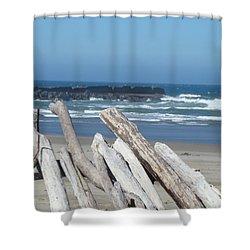 Coastal Driftwood Art Prints Blue Sky Ocean Waves Shower Curtain by Baslee Troutman