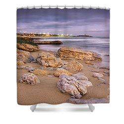 Coastline At Twilight Shower Curtain by Carlos Caetano