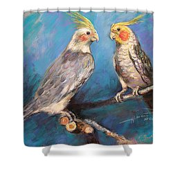 Coctaiel Parrots Shower Curtain by Ylli Haruni