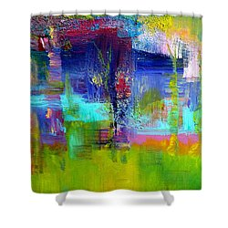 Color Blocks Shower Curtain by Claire Bull