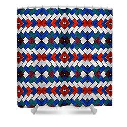 Colourful Tile Symmetry Shower Curtain by Hakon Soreide