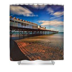 Colwyn Pier Shower Curtain by Adrian Evans