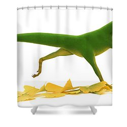 Compsognathus Shower Curtain by Jane Burton and Warren Photographic and Photo Researchers